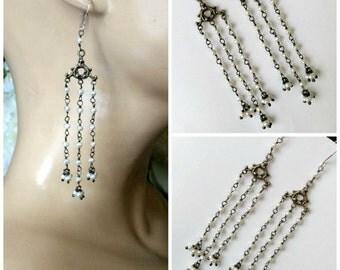 Long Seed Pearl Earring Oxidized Silver Long Tassel Earring Wire Wrap Long Pearl Dangle Earring Handmade Bohemian Pearl Shoulder Duster