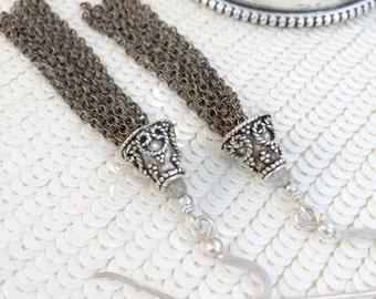 Sterling Silver Tassel Earrings Long Chain Tassel Earrings Oxidized Silver Tassel Jewelry Bohemian Earrings