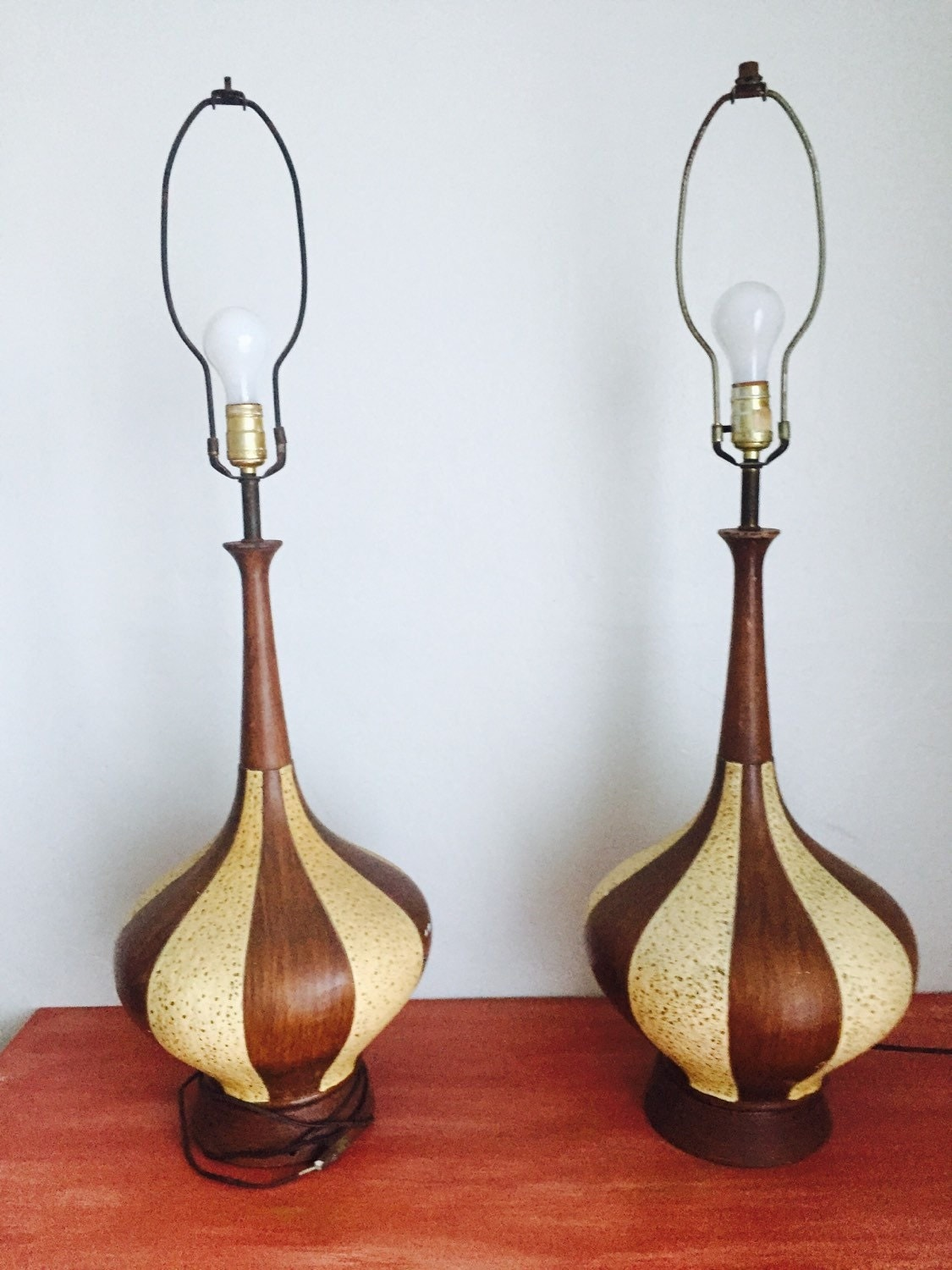 vintage mid century modern fortune lamp 1960 wood and ceramic lamps
