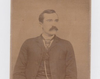 1800s vintage cabinet photo. from Spencher, W.VA. man with large mustache