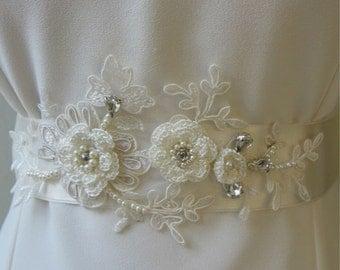 Ivory Crystal Beaded Flower Sash Bridal Wedding Belt 3D Applique