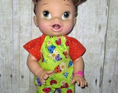 Corolle Tidoo Or Calin Doll  Baby Alive Doll clothes  Lady Bug Short Set Fits 12 13  Inch Doll   Doll Clothes Handmade Made in USA