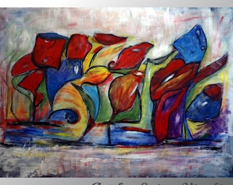 """Abstract Large Original Painting on 53"""" Canvas Colorful Glasses Art Deco Huge Artwork Oil Impasto Art"""