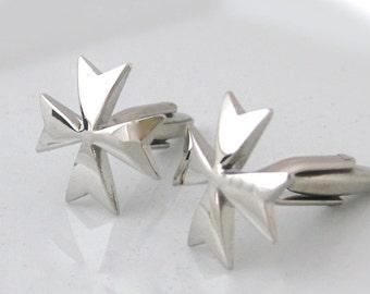 Malta Cross Cufflinks Maltese Cross Silver colour
