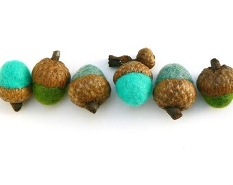 Needle Felted Acorns, Felt Waldorf Natural Nature Inspired Eco Friendly Non Toxic Home Decor Decorations - 10