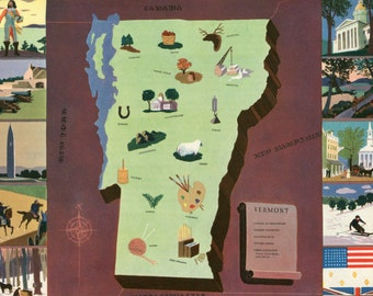 VIntage Pictorial Map of Vermont 1939 World's Fair