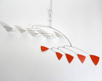 Mobile Art Orange and White Hanging Sculpture -  Classic Style - Kinetic Calder Inspired - 32w x 22t - P194