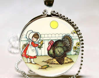 Vintage Joan Walsh Anglund Fall THANKSGIVING Dinner Turkey Gift Charm Necklace