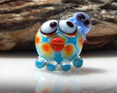 Lampwork Squeedle Bead Charm Blue Yellow Red White Green Octopus Cute Character  Polka Dots