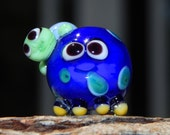 Lampwork Squeedle Bead Charm Blue Yellow  White Green Octopus Turtle Cute Character  Polka Dots