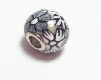 Large Hole Bead Handmade from Polymer Clay -  Black and White Flower Pattern