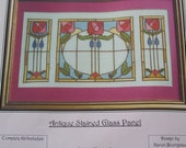 DESTASH, Art-Stitch Counted Cross Stitch Kit, Antique Stained Glass Panel