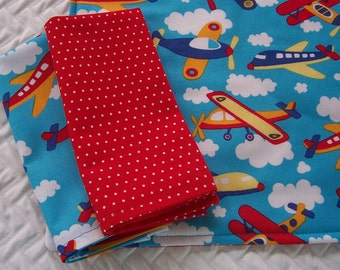 Kid's Lunchbox Set, Airplanes, Placemat and Napkins, School Placemat, Fabric Placemat, Cloth Placemat