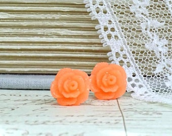 Bright Orange Rose Earrings Rose Stud Earrings Orange Studs Hypoallergenic Orange Rose Studs