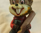 Vintage Mid-Century Ceramic Canadiana Lumberjack Beaver Figurine. Hand Painted Made in Japan.