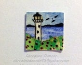 OOAK Tiny Miniature Dollhouse Art 3/4 x 3/4 inch Painting Lighthouse & Seagull