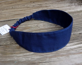 Navy Blue Cotton Fabric Headband with Elastic
