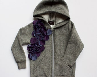 girls hoodie - LAYERED CIRCLES HOODIE - clothing for girls - sweatshirt - tops - zip up jacket -  purple and grey - unique gift for girls