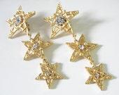 Fabulous 3 Star Earrings Rhinestones Vintage 3 1/2 Inches Long!