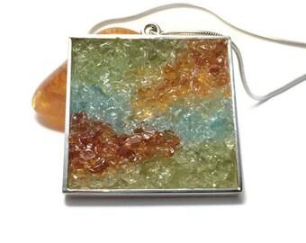 Mosaic Jewelry - Peridot, Amber and Apatite Mosaic Pendant