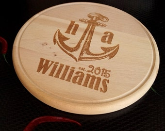 Personalized cutting board, nautical round cutting board, wedding gift, anniversary gift, cheese board, serving board, custom engraved
