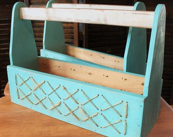 Planter Box Distressed Blue Finish with Jute Weave