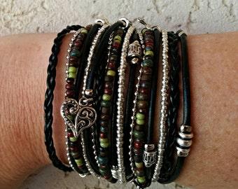 Boho Black Leather Wrap Bracelet - Multistrand Chunky Leather Cuff - Infinity Wrap Bracelet - Choose FOUR Charms - Customizable