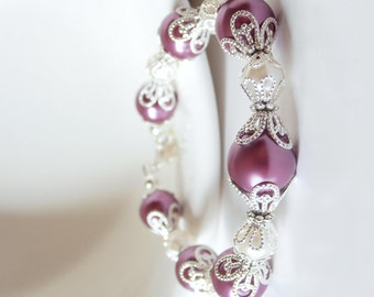 Bridesmaids Plum Bracelets, Sangria Wedding Jewelry, Purple Pearl Bracelet, Bridesmaid Gift, Sangria and Ivory Beaded Bridal Party Jewelry