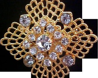REDUCED~Simulated Light Blue Topaz Rhinestone~Diamond Shape Gilt Gold Filigree Brooch