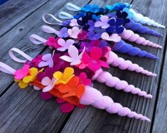 Unicorn horn headband with felt flowers - one headband in your choice of colors