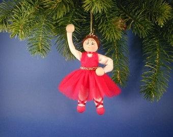 Ballerina Doll Ornament, Ballerina Clothespin Doll Ornament, Sugar Plum Ballerina Ornament