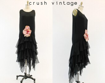 20s Flapper Dress Small / 1920s Vintage Black Silk Chiffon Ruffled Dress / The Mary Pickford Gown