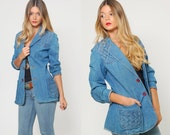 Vintage 70s DENIM Jacket BRAIDED Hippie Blazer Vintage Jean Jacket Denim Boho Blazer