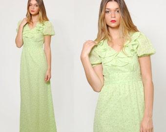 Vintage 70s Ditzy FLORAL Maxi Dress Kiwi Green EMPIRE Waist Hippie Dress Puff Sleeve RUFFLE Dress
