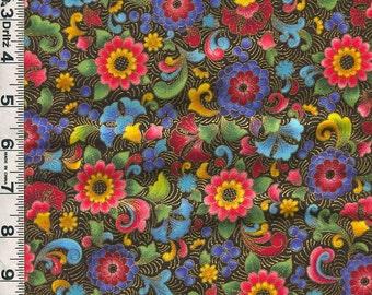 Fabric Kaufman FLORENTINE 4 Rich EURO Floral design on black Jewel colorway