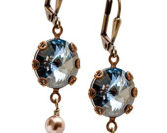 Swarovski Earrings, Rivoli Earrings, Crystal Blue Earrings, Pearl and Crystal Earrings