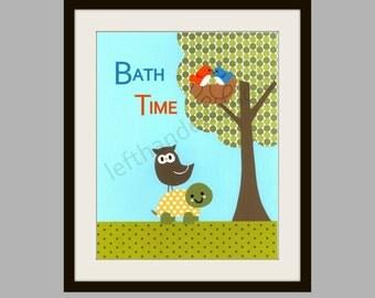 Target Circo ABC Print, Birds, Owl and Turtle Print, Children's Art Print, 8x10, Personalized