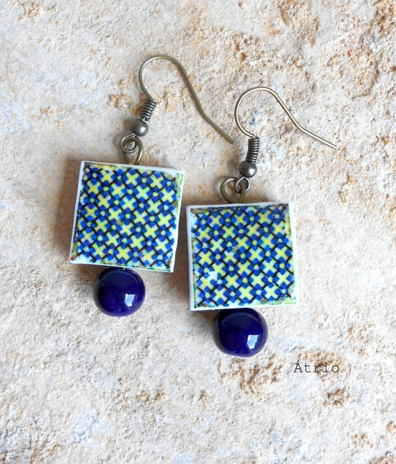 Portugal  Antique Tile Replica Earrings, Blue Green Geometric,  Waterproof and Reversible (see actual Facade photos) 667