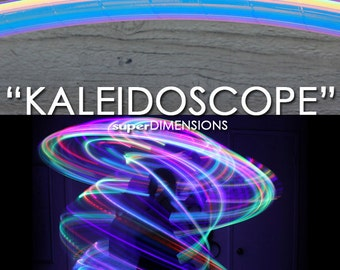 """LED Hoop - 'KALEIDOSCOPE'  - 3/4"""" -OR- 5/8"""" Polypro. Made in any size 26"""" - 36"""". Free 3M Inside Grip Option!"""