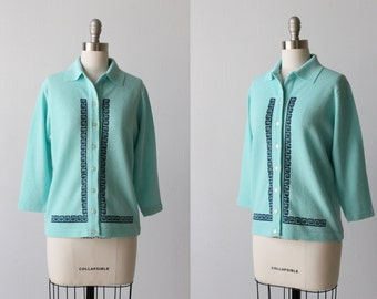 1960s Sweater / Turquoise Blue Cardigan Sweater / 60s Cardigan Sweater / Bowling Sweater