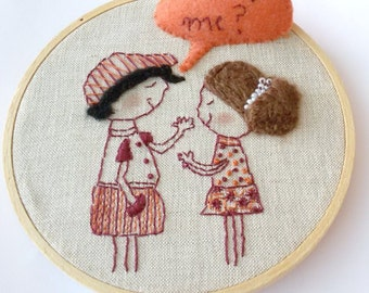 Will You Marry Me? - Marriage Proposal - Embroidery Hoop Wall Art - Hand Embroidery - Cartoon Wall Art - Cartoon Embroidery - Ready To Ship