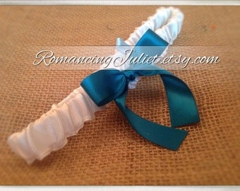 Simple Satin Bridal Garter with BONUS Something Blue..You Choose the Colors..shown in white/teal green