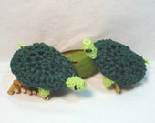 Pot Scrubbers. Turtles, green, scour pads, home cleaning aid, eco-friendly, nylon net, cotton. 2pk of Turtle Pot Scrubbers.