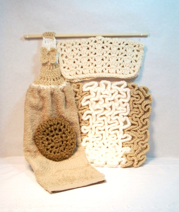 Kitchen set. Towel, pot scrubber, dish cloth, hot pad, gift, yellow, tan, nylon net, cotton, scratch free, home, handmade. Pick your 4pc.