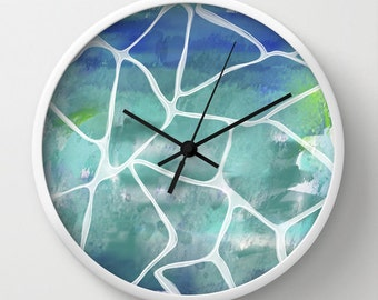 Water rays clock, water poolside reflections clock. blue water clock textured effect art blue wall clock blue wall decor, abstract art clock