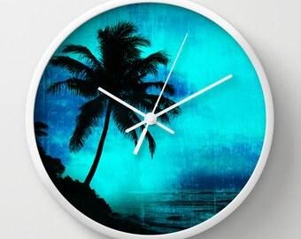 Tropical scene clock, tropical wall clock, island theme clock, palm tree clock, island home decor, blue wall clock, tropical wall art