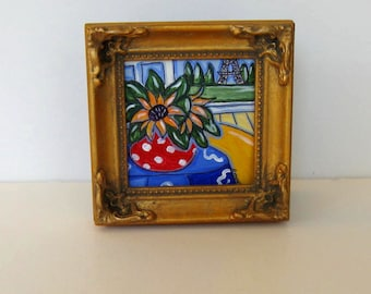 Red Sunflower Still life Painting on canvas, Framed Eiffel Tower, French Country Decor, gift idea