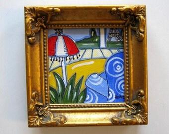 Paris Apartment, Landscape Acrylic Painting, Original miniature, Eiffel Tower, gift idea