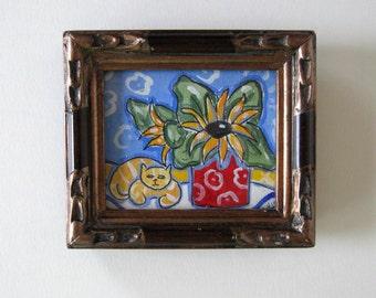Cat and Sunflowers Painting, Acrylic on Canvas, Framed Art, Home Decor, gift idea