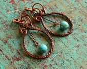 Hammered Copper Earrings, Celtic, Ancient Inspired